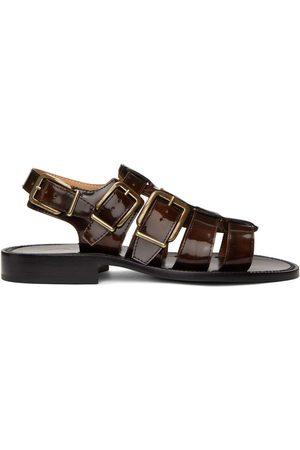 DRIES VAN NOTEN Heren Outdoor Sandalen - Black & Brown Patent Sandals