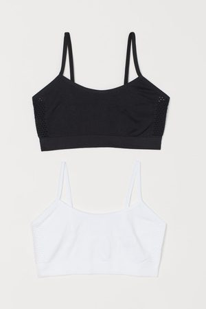 H&M Meisjes Sokken - Set van 2 seamless tricot tops