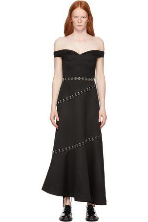 Rokh Dames Lange jurken - Black Hook Bar Off-Shoulder Maxi Dress