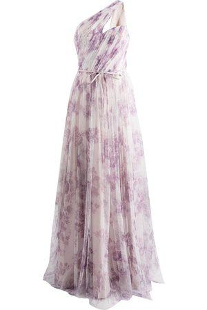 Marchesa Notte Floral-print one-shoulder gown