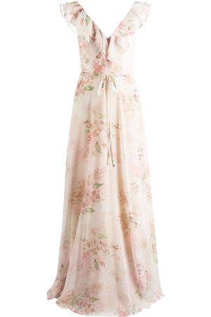 Marchesa Notte Desio floral-print ruffle dress