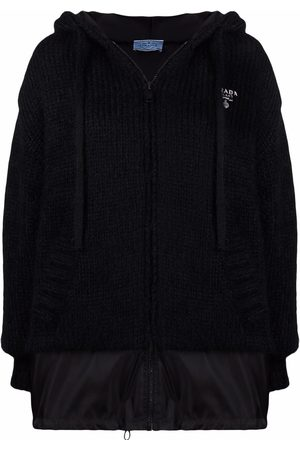 Prada Embroidered logo knitted hoodie