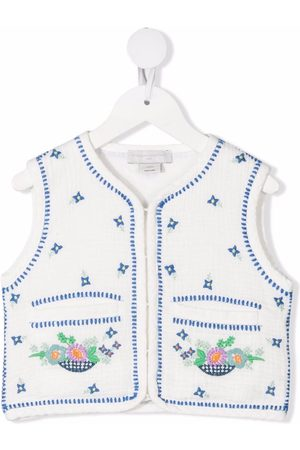 Stella McCartney Floral-embroidered cotton gilet