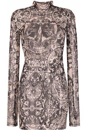 Philipp Plein New Baroque printed tulle mini dress