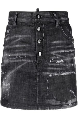 Dsquared2 High-waisted distressed-effect denim skirt