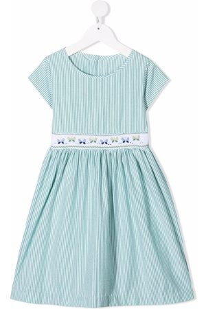 SIOLA Stripe-print embroidered-trim dress