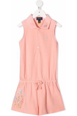 Ralph Lauren Kids Floral-embroidered polo jumpsuit