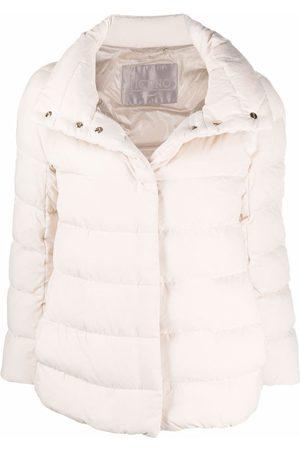HERNO Dames Leren jassen - Wide-neck suede-effect jacket