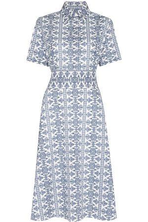 Evi Grintela Dames Geprinte jurken - Tile-print midi dress