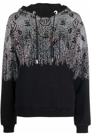Philipp Plein Crystal-monogram pullover hoodie