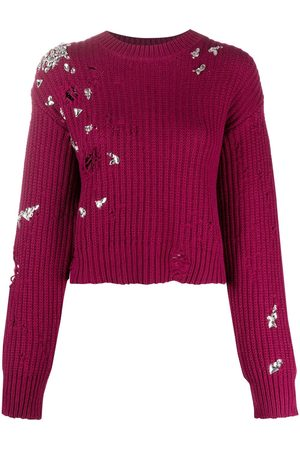 Dsquared2 Dames Gebreide truien - Crystal-embellished distressed-effect jumper