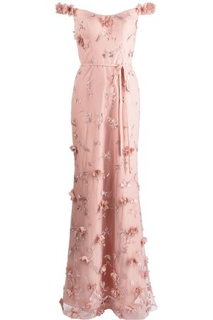 Marchesa Notte Floral-embroidered maxi gown