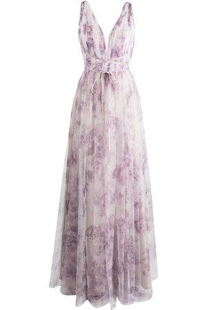 Marchesa Notte Floral-print floor-length gown