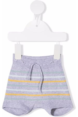 Knot Striped ribbed-knit shorts