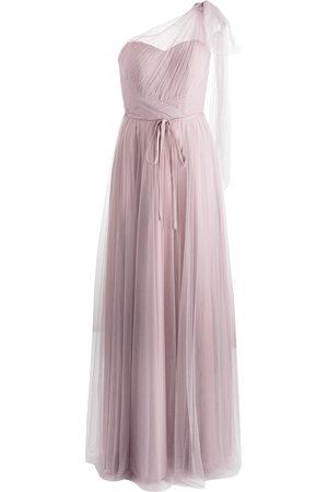 Marchesa Notte One-shoulder floor-length gown