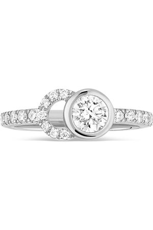 Courbet 18kt white gold CO half-pavé diamond set ring
