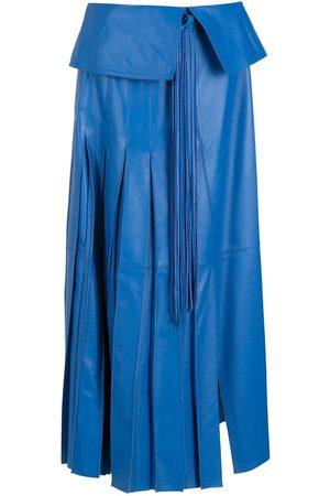 NK Plum leather midi skirt