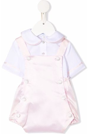 Siola Baby Playsuits - Piped-trim cotton playsuit set