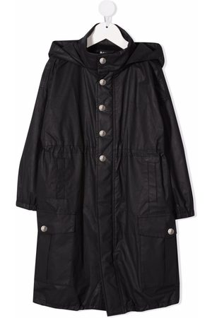 Balmain Kids Logo-embroidered hooded trench coat