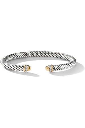 David Yurman Sterling and 18kt yellow gold Cable diamond cuff