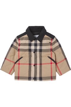 Burberry Logo appliqué check diamond quilted jacket