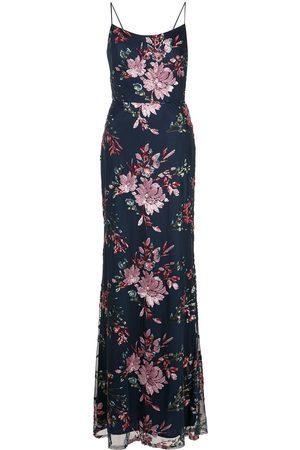 Marchesa Notte Sequin-floral gown