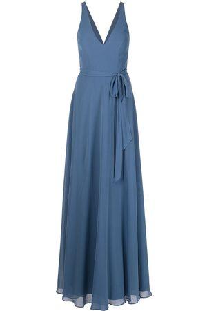 Marchesa Notte V-neck tie-waist gown