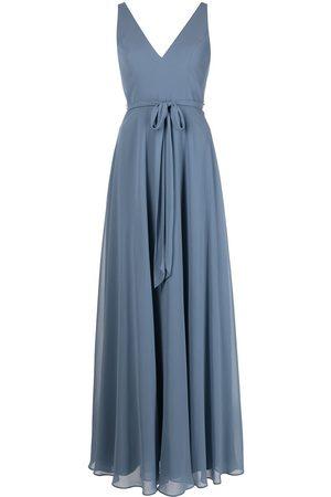 Marchesa Notte Bridesmaids V-neck sash belt sleeveless gown
