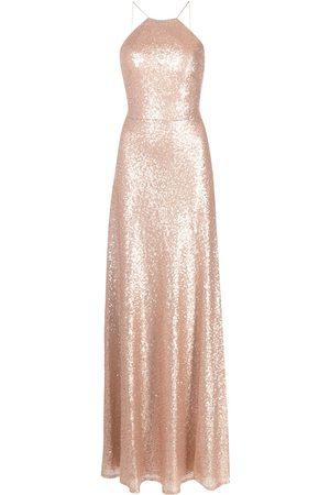Marchesa Notte Slim-cut sequined-halterneck gown