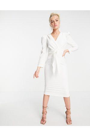 Little Mistress Puff shoulder tie front detail midi dress in cream-White