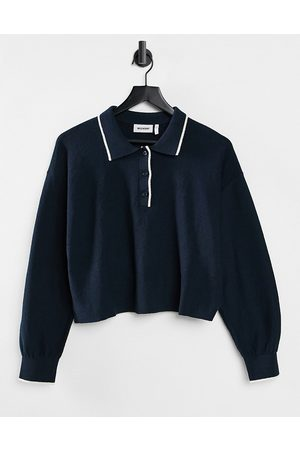 Weekday Helga knitted polo sweater in navy-Blue