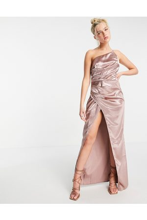 Little Mistress One shoulder drape maxi satin dress with split in oyster grey