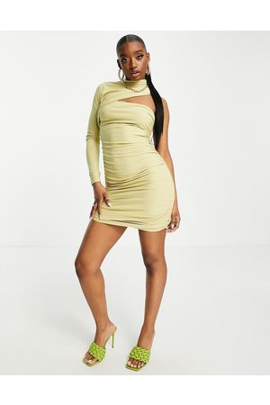 Club L Ruched one shoulder cut out mini dress in sage-Green