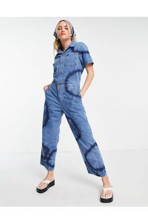 Wrangler Tie dye denim boilersuit in blue