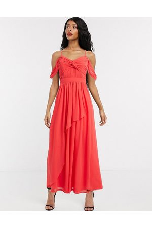 Little Mistress Cold shoulder maxi dress with knot front bodice in coral-Red