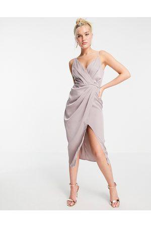 Little Mistress Satin wrap midi dress in oyster grey