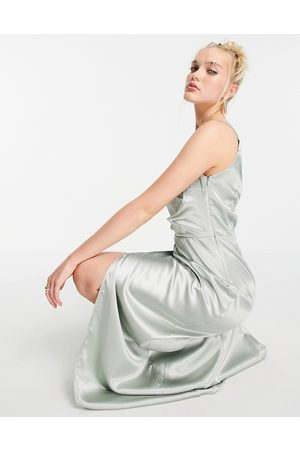 Little Mistress One shoulder drape maxi satin dress with split in sage green