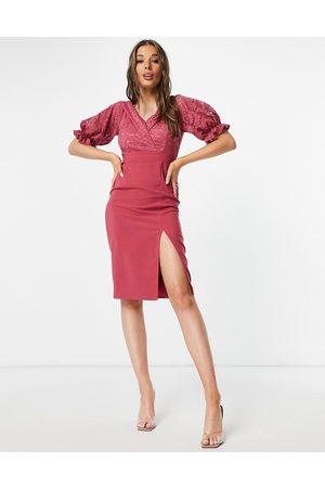 Little Mistress Ruffle lace midi dress in cosmetic rose-Pink