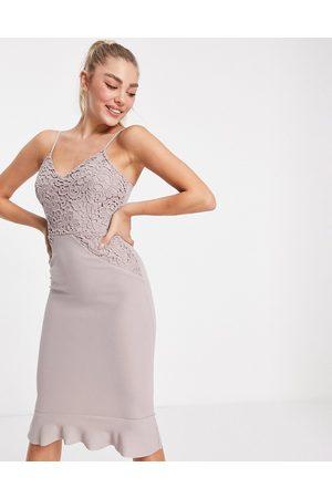 Ax Paris Cami midi dress in mushroom-Pink