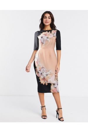 Little Mistress Placement midi bodycon dress in peach and black floral-Pink