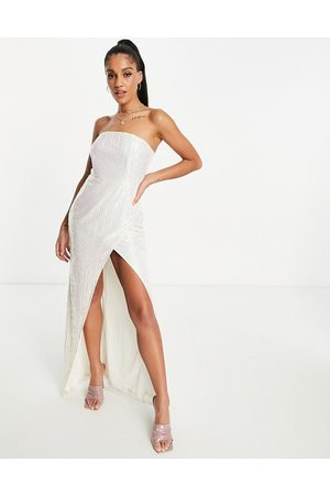Club L Ivory sequin iridescent strapless split maxi dress in ivory-White