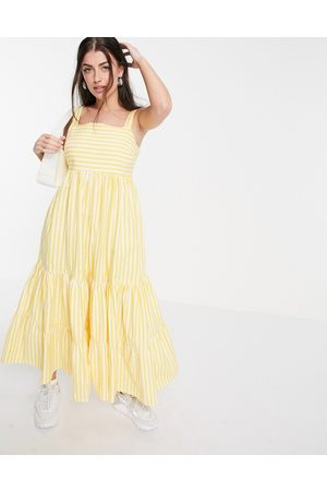People Tree Maxi dress with tiered skirt in summer stripe organic cotton-Yellow