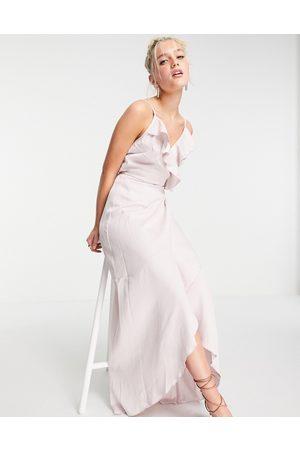 Little Mistress Ruffle wrap midaxi satin dress in blush-Pink