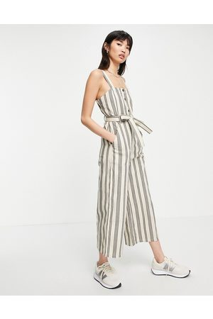 People Tree Relaxed wide leg jumpsuit with tie waist in stripe-White