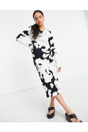 House of Holland Cow Print Midi Dress-Multi