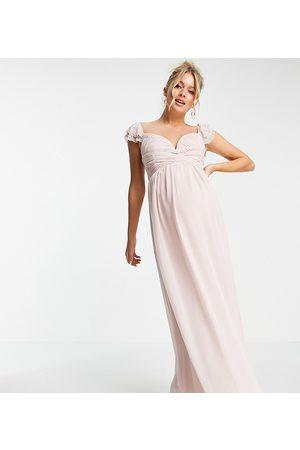 Little Mistress Embellished flutter sleeve twist waist maxi dress in blush-Pink