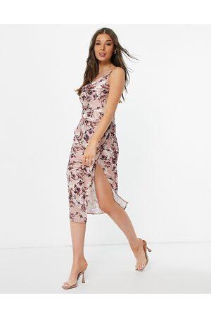 Little Mistress Drape satin midi dress with split in mink floral-Multi