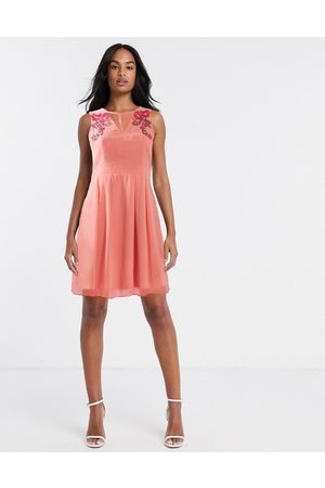 Little Mistress Fit and flare midi dress with floral embroidery in light coral-Orange