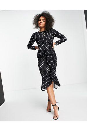 Little Mistress Ruffle wrap polka print midi dress in black