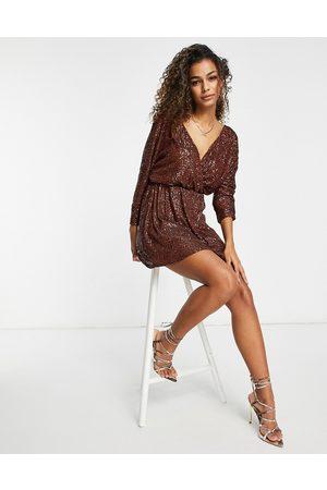 Club L Sequin wrap detail mini shift dress in bronze-Brown